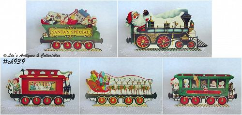 VINTAGE SANTA'S SPECIAL TRAIN DISPLAY MADE OF LIGHT WEIGHT CARDBOARD