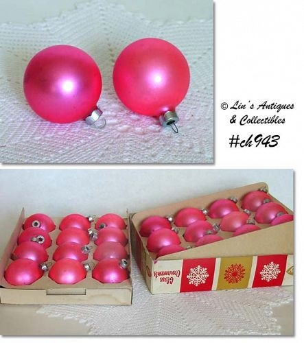 2 DOZEN SATIN PINK ORNAMENTS (COBY)