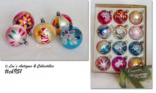 1 DOZEN VINTAGE GLASS CHRISTMAS ORNAMENTS