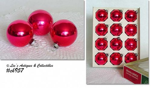 1 DOZEN RED SHINY BRITE ORNAMENTS