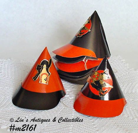 LOT OF 8 VINTAGE LITTLE HALLOWEEN PARTY HATS