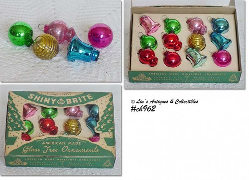 1 DOZEN MINI SHINY BRITE VINTAGE GLASS CHRISTMAS ORNAMENTS IN BOX