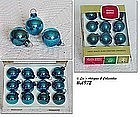 1 DOZEN VINTAGE BLUE SMALL SIZE SHINY BRITE ORNAMENTS IN BOX