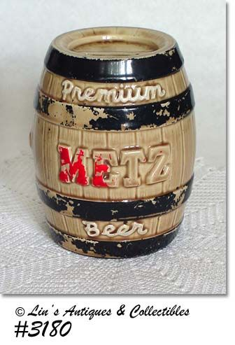 McCOY POTTERY METZ BREWING COMPANY BANK ADVERTISING BANK