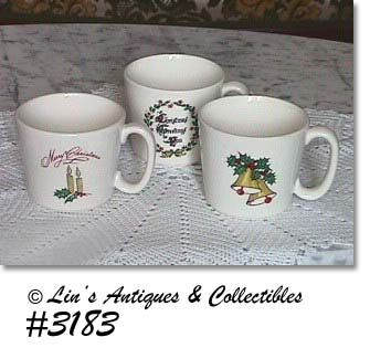 McCOY POTTERY THREE VINTAGE CHRISTMAS CUPS
