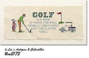 "CROSS-STITCH ""GOLFING"" SAMPLER"