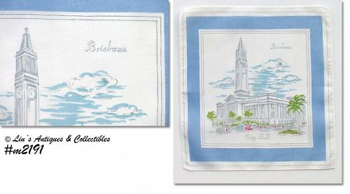 SOUVENIR HANDKERCHIEF -- BRISBANE CITY HALL