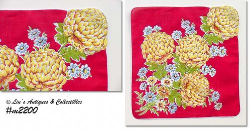 RED HANDKERCHIEF WITH YELLOW CHRYSANTHEMUMS