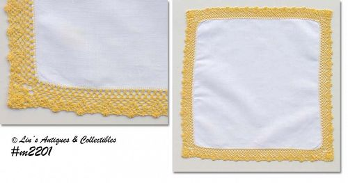 WHITE HANDKERCHIEF WITH YELLOW CROCHET (UNUSUAL)