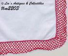 HANDKERCHIEF -- WHITE WITH RED CROCHET EDGING