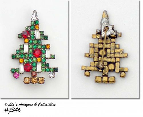 "WEISS, ""CANDLE"" CHRISTMAS TREE PIN"