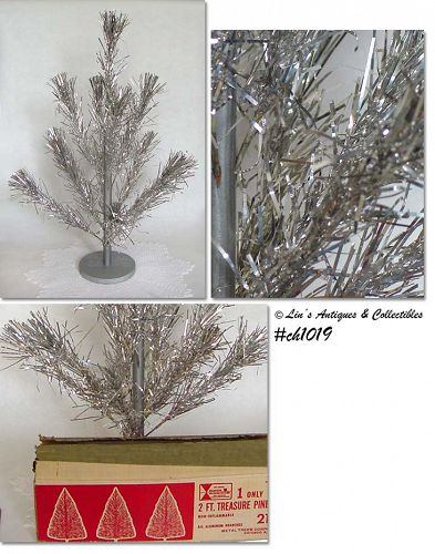 VINTAGE TREASURE PINE 2 FT ALUMINUM CHRISTMAS TREE WITH ORIGINAL BOX