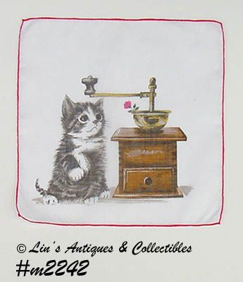 VINTAGE KITTEN AND COFFEE GRINDER HANDKERCHIEF
