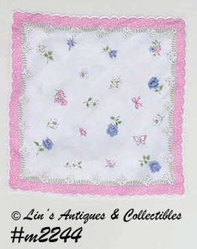 HANDKERCHIEF, FLOWERS AND BUTTERFLIES