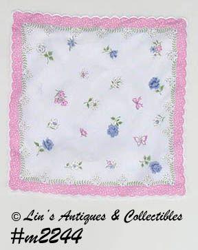 HANDKERCHIEF, FLOWERS AND BUTTERFLIES