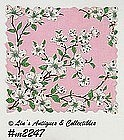 VINTAGE FRANSHAW PINK WITH WHITE DOGWOOD BLOOMS HANDKERCHIEF