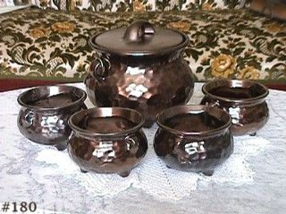 McCOY POTTERY SOUP OR BEAN POT SET SERVER AND 4 BOWLS