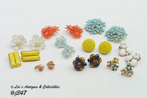 10 PAIRS ASSORTED VINTAGE CLIP AND SCREW BACK EARRINGS