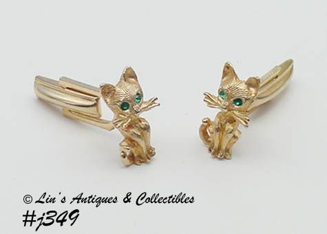 CATS WITH GREEN RHINESTONE EYES VINTAGE CUFFLINKS