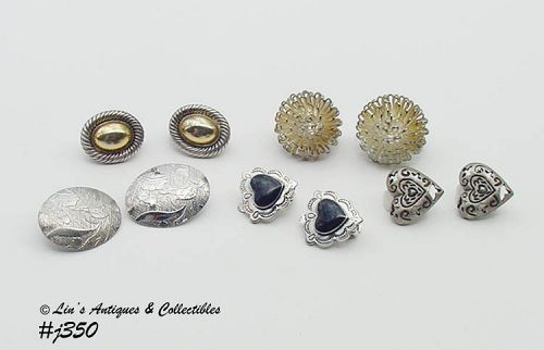 VINTAGE CLIP BACK EARRINGS LOT OF 5 PAIRS