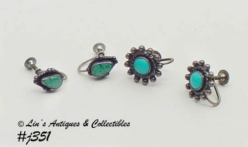 2 PAIRS VINTAGE STERLING WITH TURQUOISE EARRINGS