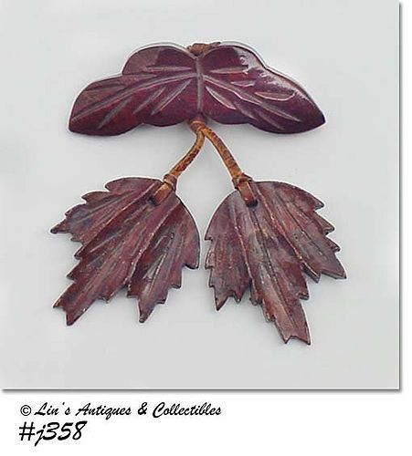 VINTAGE WOODEN PIN WITH DANGLING WOOD LEAVES
