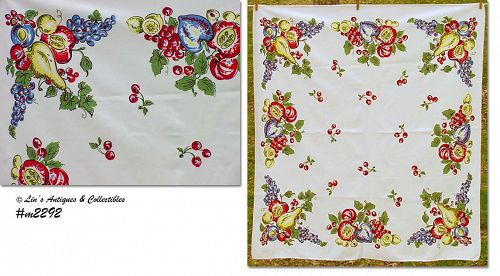 "VINTAGE COLORFUL FRUITS 50"" x 44"" TABLECLOTH"