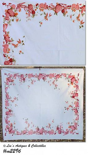 "PINK VEGETABLES VINTAGE 60"" x 53"" TABLECLOTH"