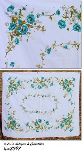"AQUA POPPIES64"" x 51"" VINTAGE TABLECLOTH"