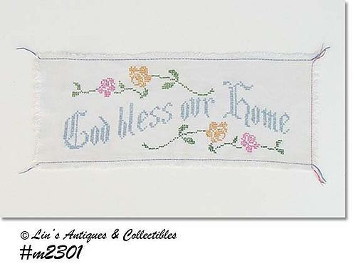"VINTAGE ""GOD BLESS OUR HOME"" CROSS-STITCH SAMPLER"