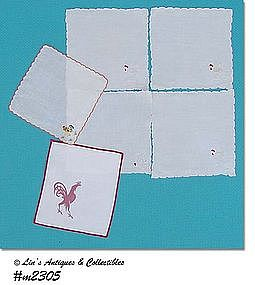 COCKTAIL NAPKINS WITH ROOSTER DESIGN