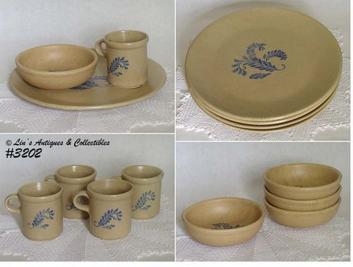 McCOY POTTERY -- BLUEFIELD DINNERWARE FOR 4