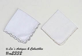 TWO HANDKERCHIEFS WITH BEADED CROCHET EDGING