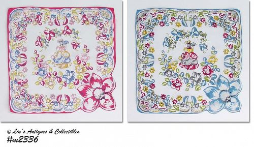 PAIR OF FLORAL WITH SPANISH LADY HANDKERCHIEFS