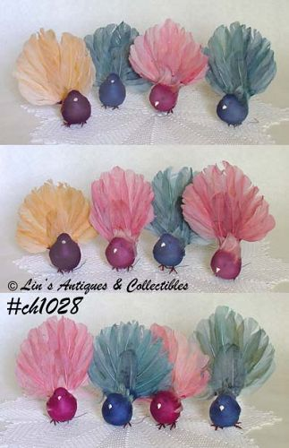 1 DOZEN VINTAGE FEATHERED BIRDS FOR ORNAMENTS OR CRAFTING