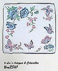 BLUE POPPIES AND BUTTERFLIES HANDKERCHIEF