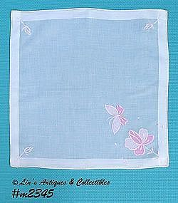 WHITE WITH PINK BUTTERFLY HANDKERCHIEF