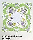 FLOWERS AND BUTTERFLIES VINTAGE HANDKERCHIEF