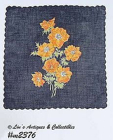 BLACK WITH ORANGE POPPIES VINTAGE HANDKERCHIEF