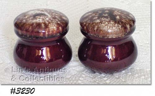 McCOY POTTERY -- BROWN DRIP STUBBY STYLE SHAKER SET