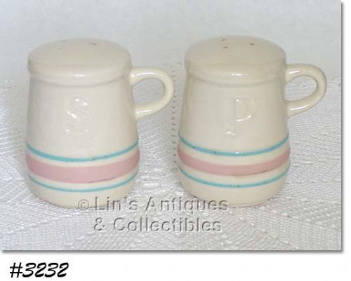 McCOY POTTERY VINTAGE PINK AND BLUE STONECRAFT PINK AND BLUE SHAKERS