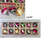 1 DOZEN SMALL SHINY BRITE VINTAGE CHRISTMAS ORNAMENTS WITH STRIPES