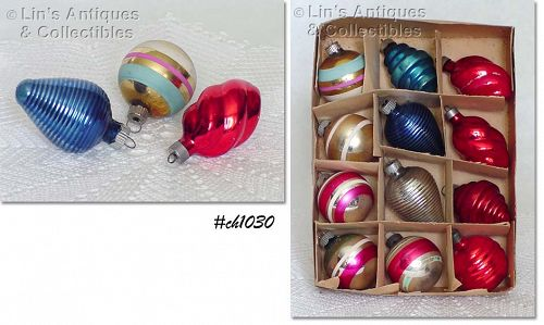 1 DOZEN ASSORTED VINTAGE SHINY BRITE GLASS CHRISTMAS ORNAMENTS