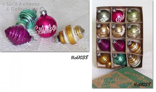 1 DOZEN FANCY SHINY BRITE ORNAMENTS