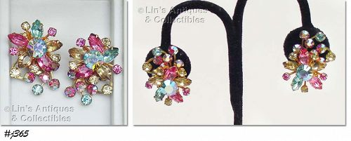 VINTAGE BEAU JEWELS MULTI COLOR RHINESTONE CLIP BACK EARRINGS