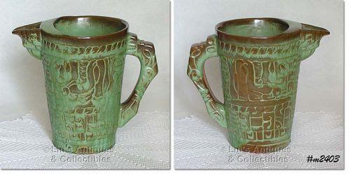 FRANKOMA POTTERY -- MAYAN-AZTEC PRAIRIE GREEN PITCHER