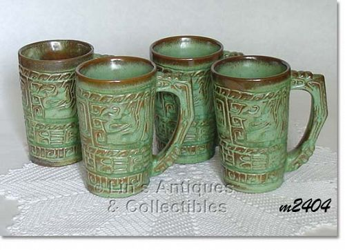 FRANKOMA POTTERY -- SET OF 4 MAYAN-AZTEC PRARIE GREEN MUGS