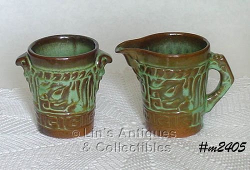 FRANKOMA POTTERY -- MAYAN-AZTEC PRAIRIE GREEN CREAMER AND SUGAR