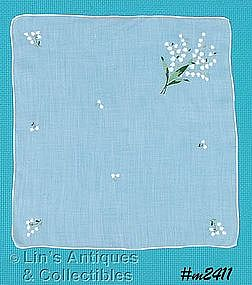 HANDKERCHIEF, WHITE WITH LILY OF THE VALLEY