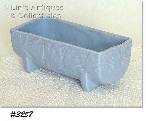McCOY POTTERY -- BUTTERFLY LINE PLANTER (BLUE)